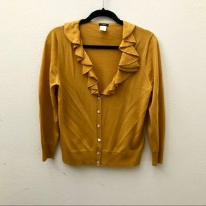 JCREW yellow mustard gold ruffle cardigan